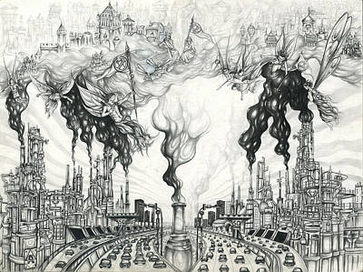Drawing - Pollution Rebellion by Alma