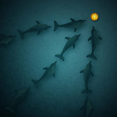Polo Dolphins Print by Michael  Murray