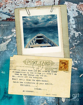 Poloroid Of Boat With Inspirational Quote Print by Jill Battaglia