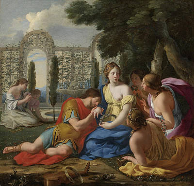 Painting - Polyphilus And Polia Accompanied By Nymphs On Island Of Cythera by Eustache Le Sueur