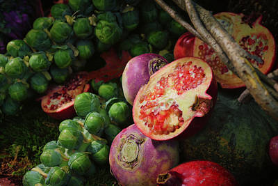Turnips Photograph - Pomegranate And Sprouts by Rick Berk