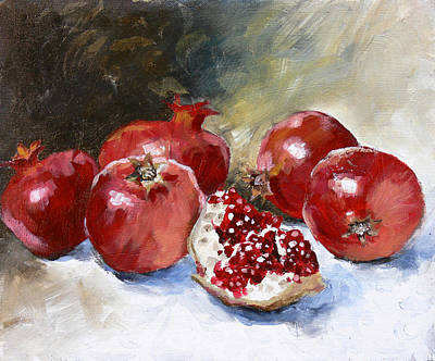 Red Fruit Painting - Pomegranate by Tanya Jansen