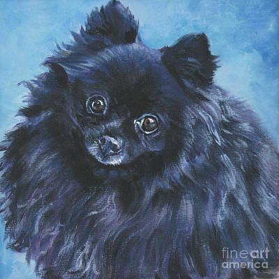 L.a.shepard Painting - Pomeranian Black by Lee Ann Shepard