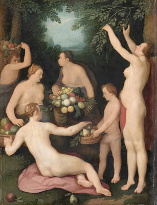 Cornelis Van Haarlem Painting - Pomona Receiving The Harvest Of Fruit by Cornelis van Haarlem