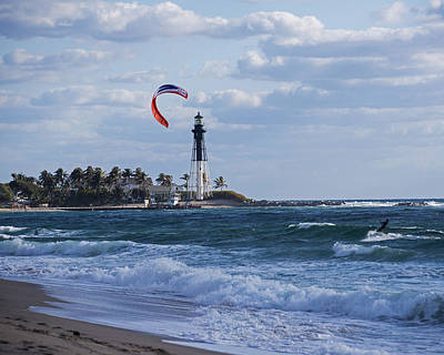 Pompano Beach Kiteboarder Hillsboro Lighthouse Print by Toby McGuire