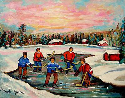 Kids Playing Hockey Painting - Pond Hockey Countryscene by Carole Spandau