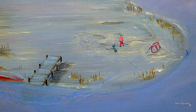 Hockey Painting - Pond Hockey by Ken Figurski