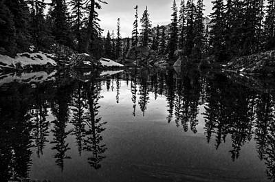 Pond On The Pacific Crest Trail Black And White Print by Pelo Blanco Photo