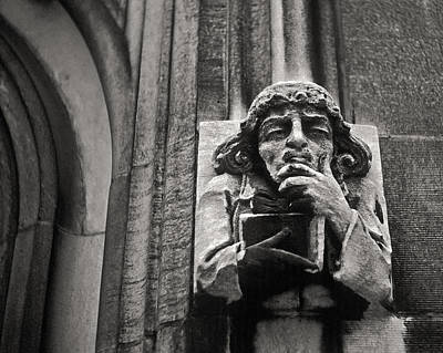 Joseph Duba Photograph - Pondering Gargoyle V.1 University Of Chicago 1976 by Joseph Duba