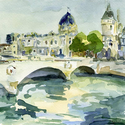 Pont De Change Watercolor Paintings Of Paris Print by Beverly Brown