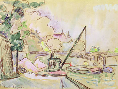 Louvre Drawing - Pont Du Louvre by Paul Signac