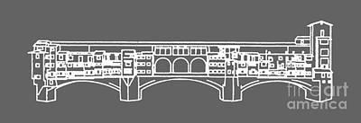 Ponte Vecchio Florence Tee White Print by Edward Fielding