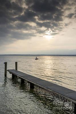 Photograph - Pontoon On The Lake Of Geneva At Sunset by Bernard Jaubert
