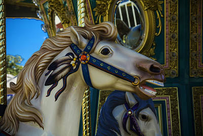 Antique Carousel Photograph - Pony Carrsouel Portrait by Garry Gay