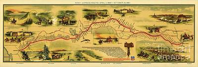Pony Drawing - Pony Express Map by Pg Reproductions