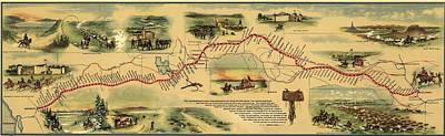Express Photograph - Pony Express Route April 1860 - October by Everett