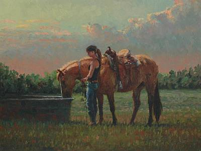 Prairie Sunset Painting - Pony Tales by Jim Clements