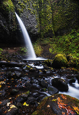 Ponytail Falls In Columbia River Gorge In Autumn Print by Vishwanath Bhat