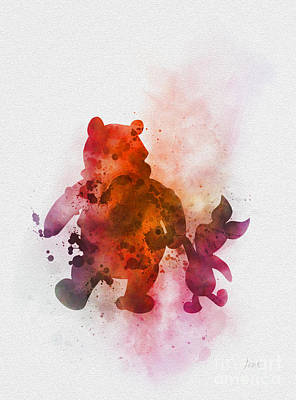 Colourful Mixed Media - Pooh Bear by Rebecca Jenkins