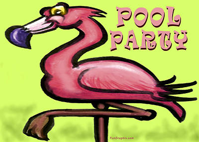 Humorous Greeting Card - Pool Party by Kevin Middleton