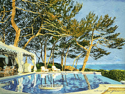 Wicker Chair Painting - Poolside Sunset - Monaco by David Lloyd Glover