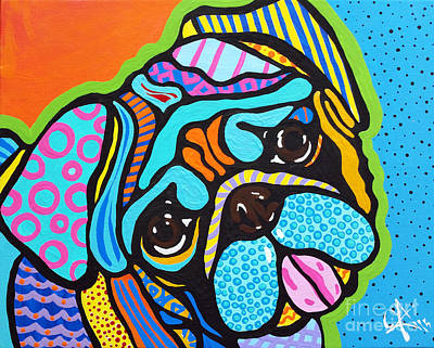 Lucky Dogs Painting - Pooped Pug by Jackie Carpenter