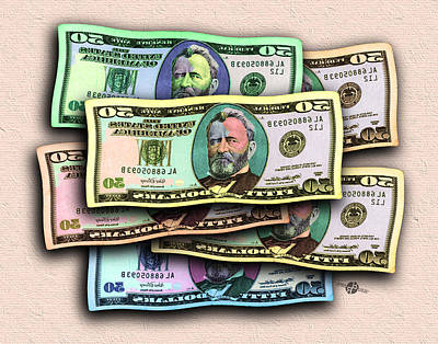 50 Dollar Bills In The Wind All Colors In Spectrum Mirror Image 1 Pop Art  Original by Tony Rubino