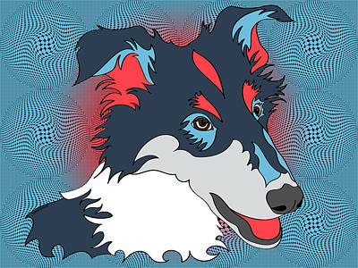 Op Art Digital Art - Pop Art Collie - Dog Art - Wpap  by Shara Lee
