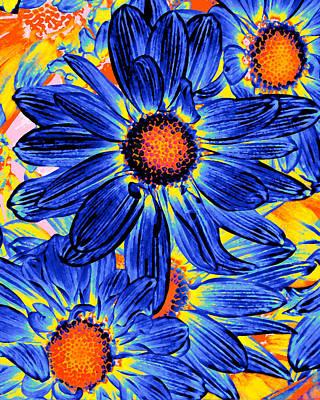 Orange Painting - Pop Art Daisies 19 by Amy Vangsgard