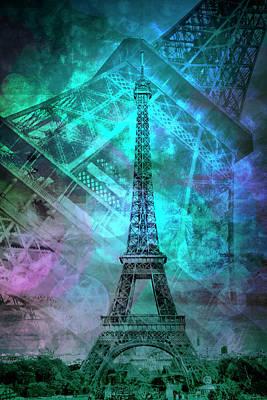 Paris Digital Art - Pop Art Eiffel Tower II by Melanie Viola