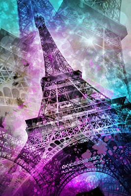 Mars Digital Art - Pop Art Eiffel Tower by Melanie Viola