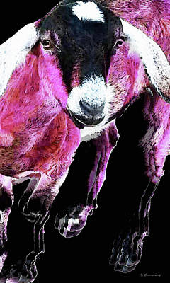 Goat Painting - Pop Art Goat - Pink - Sharon Cummings by Sharon Cummings