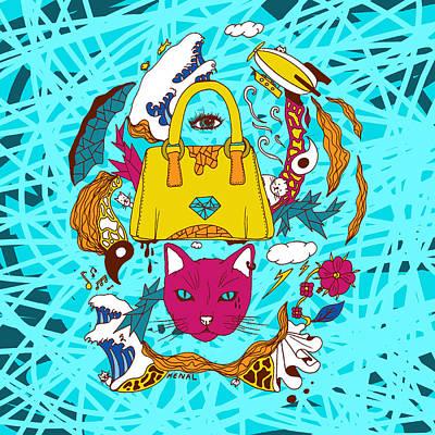 Pop Art Of Seven Cats In Tokyo Print by Kenal Louis