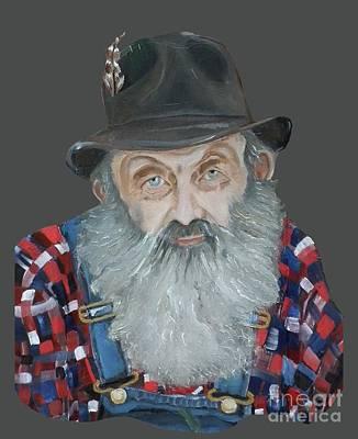 Sutton Painting - Popcorn Sutton Moonshiner Bust - T-shirt Transparent by Jan Dappen