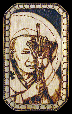 Pyrography Pyrography - Pope St. John Paul II Pyrograph by Melissa Cavaliere