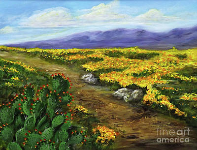 Las Cruces Painting - Poppies And Prickly Pear II by Donna Vesely