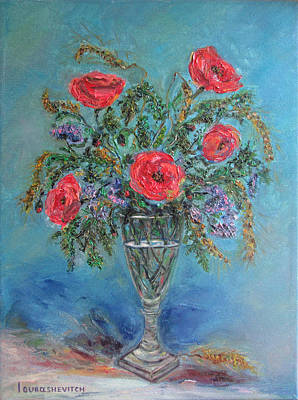 Poppies In A Glass Of Water  Original by Katerina Iourashevich Ricci