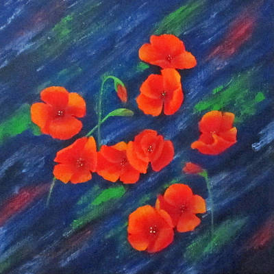 Poppies In Abstract Print by Roseann Gilmore