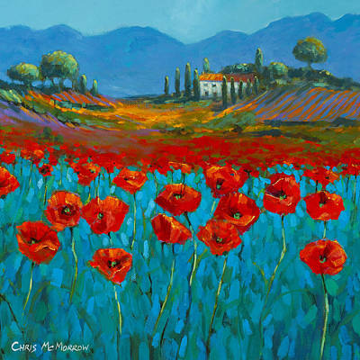 Poppies Field Painting - Poppies In Blue by Chris Mc Morrow