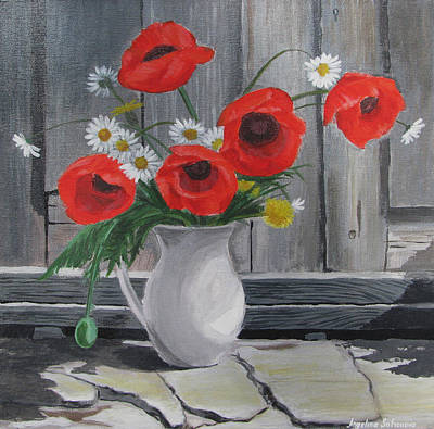 Old Vase Painting - Poppies On A Vase by Angelina Sofronova