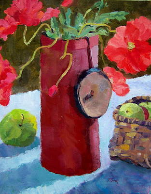 Still Life With Green Apples Painting - Poppies On The Table by Fay Terry