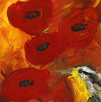 Meadowlark Painting - Poppies With Meadowlark by Kelly Riccetti