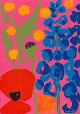 Poppy And Delphinium Print by Sarah Gillard