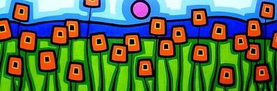 Landscape Poster Painting - Poppy Dance by John  Nolan