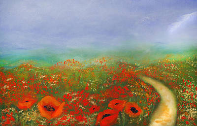 Impressionistic Landscape Painting - Poppy Field Impressions by Georgiana Romanovna