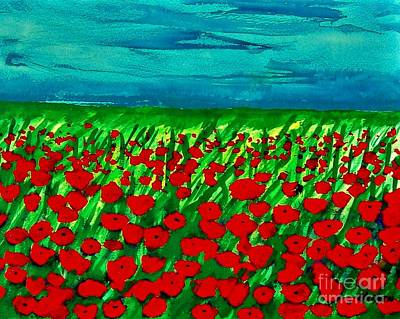 Poppy Field Ll Print by Marsha Heiken