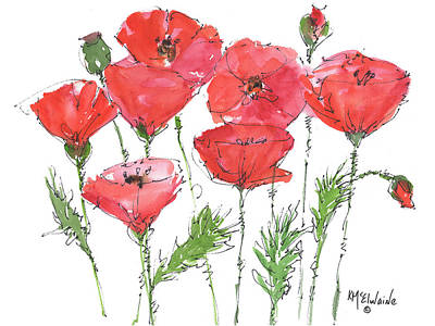 Poppy Garden Print by Kathleen McElwaine