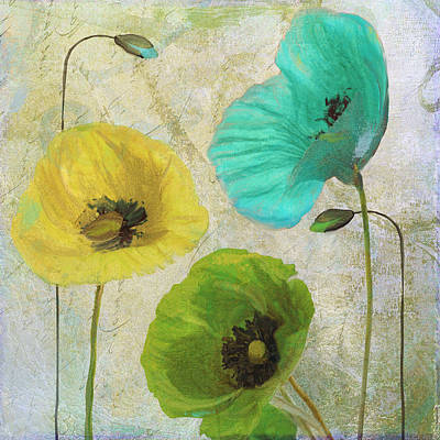 Blue Poppies Painting - Poppy Shimmer I by Mindy Sommers