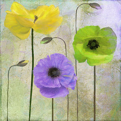 Blue Poppies Painting - Poppy Shimmer II by Mindy Sommers