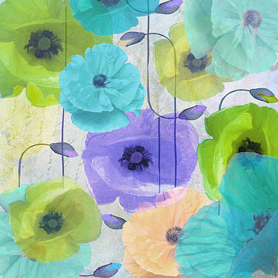 Blue Poppies Painting - Poppy Shimmer Iv by Mindy Sommers
